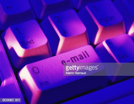 Computer keyboard, 'e-mail' key, close-up (Digital Enhancement) : Stock Photo