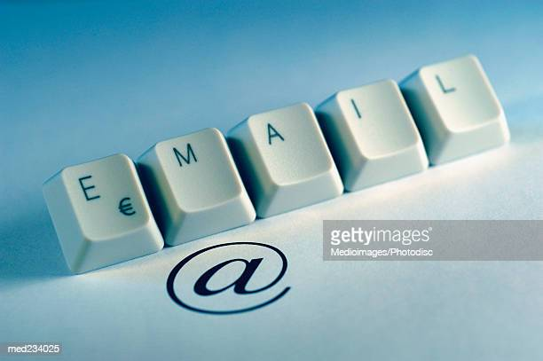 Computer keyboard keys spelling the word email