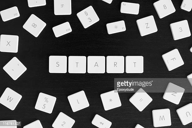 Computer keys spelling the word START