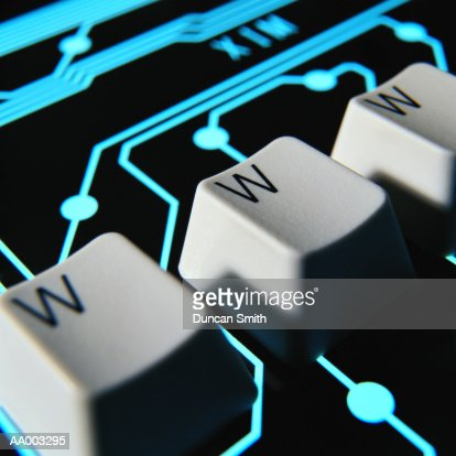 WWW Computer Keys Superimposed on Circuitry