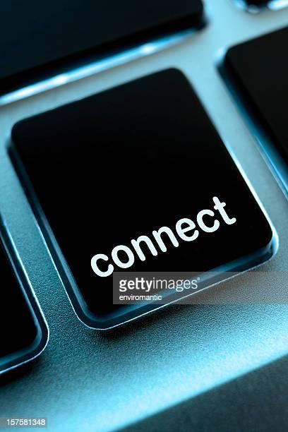 コンピューター、ノートパソコンのキーパッド'connect'ボタン。