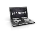 Computer Laptop with E-Learning Concept - White Background - 3D Rendering