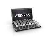 Computer Laptop with Webinar Concept - White Background - 3D Rendering
