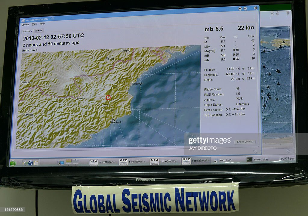 A computer monitor displays data on a recorded seismic activity originating from North Korea at the Philippine Institute of Volcanology and Seismology-Department of Science and Technology (Phivolcs-DOST) office in Manila on February 12, 2013. A defiant North Korea on Tuesday staged its most powerful nuclear test yet and warned of 'stronger' action to follow if the ensuing wave of global condemnation translated into tougher sanctions. AFP PHOTO / Jay DIRECTO