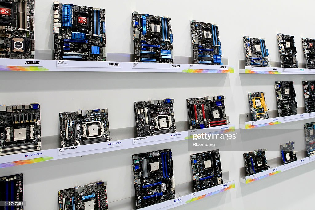 Computer mother boards are displayed at Computex Taipei 2012 in Taipei, Taiwan, on Tuesday, June 5, 2012. Computex Taipei 2012 takes place from June 5 to June 9. Photographer: Ashley Pon/Bloomberg via Getty Images