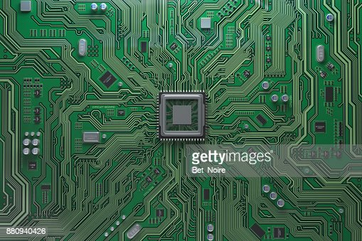 Computer motherboard with CPU. Circuit board system chip with core processor. Computer technology background. : Stock Photo
