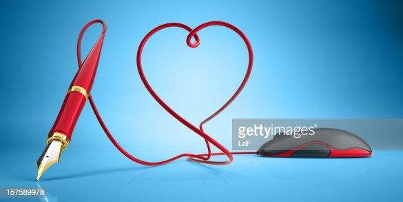 Computer-Maus und Füllfederhalter Liebe Konzept : Stock-Foto