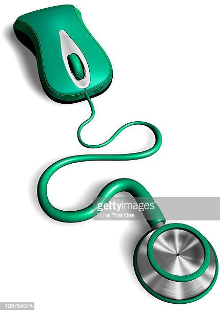 Computer mouse cable attached to a stethoscope