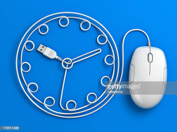 Computer mouse cable clock - blue