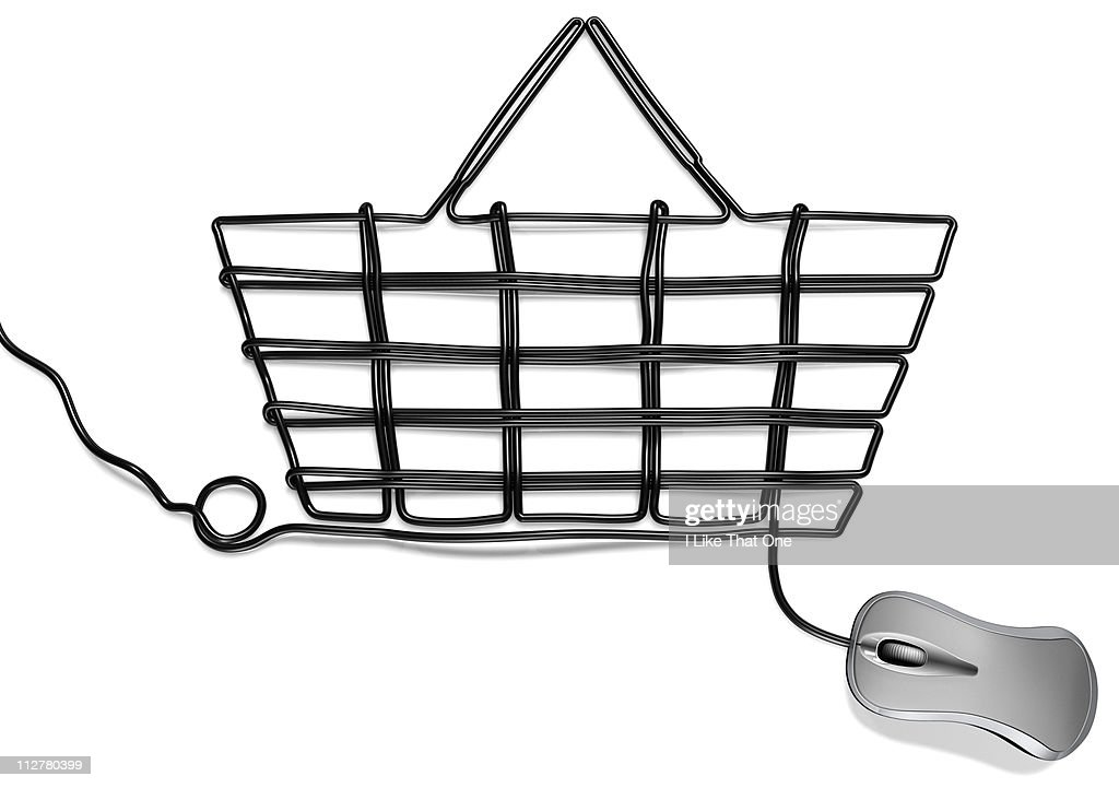 Computer mouse with cable forming Shopping basket : Stock Photo