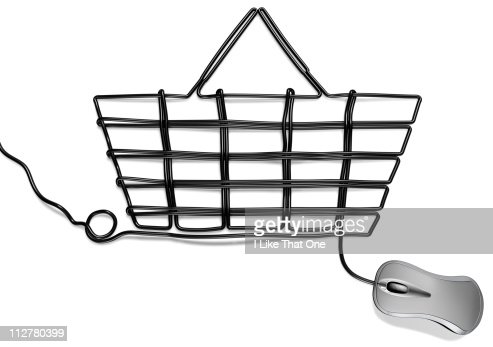 Computer mouse with cable forming Shopping basket