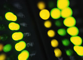 Computer network access indicator, close-up of lights (zoom effect)