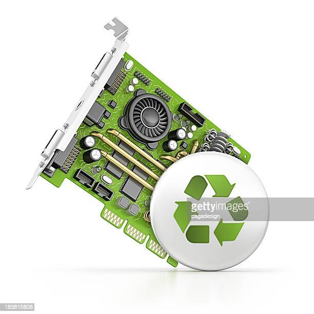 コンピューター部品とリサイクルボタン