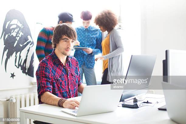 Computer programmer at a startup