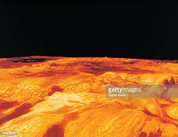 Computer projected perspective view of Ovda Regio on Venus