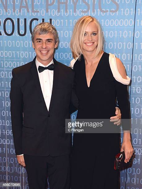 Computer Scientist Larry Page of Google and wife Lucy Southworth arrive at the Breakthrough Prize Inaugural Ceremony at NASA Ames Research Center on...