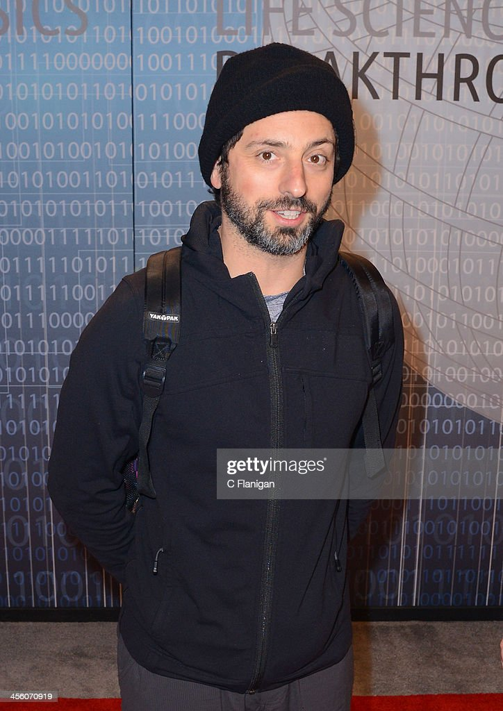 Computer Scientist Sergey Brin of Google arrives at the Breakthrough Prize Inaugural Ceremony at NASA Ames Research Center on December 12, 2013 in Mountain View, California.