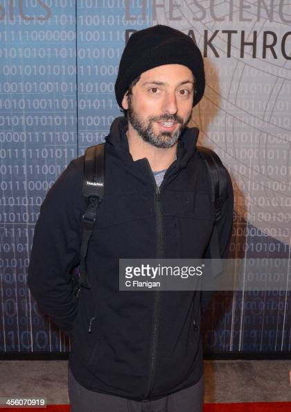Computer Scientist Sergey Brin of Google arrives at the Breakthrough Prize Inaugural Ceremony at NASA Ames Research Center on December 12 2013 in...