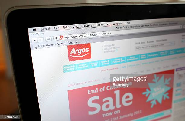 A computer screen displays the Argos website operated by Home Retail Group Plc in this arranged photograph in London UK on Tuesday Jan 11 2011 UK...