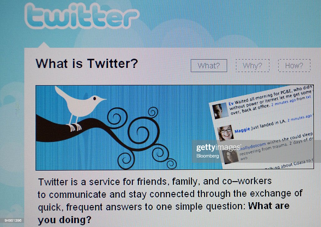 A computer screen displays the homepage of Twitter on Friday, April 3, 2009. Twitter Inc., the online messaging service derided by comedian Jon Stewart as