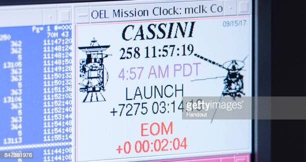 A computer screen in mission control displays mission elapsed time for Cassini minutes after the spacecraft plunged into Saturn's atmosphereSeptember...