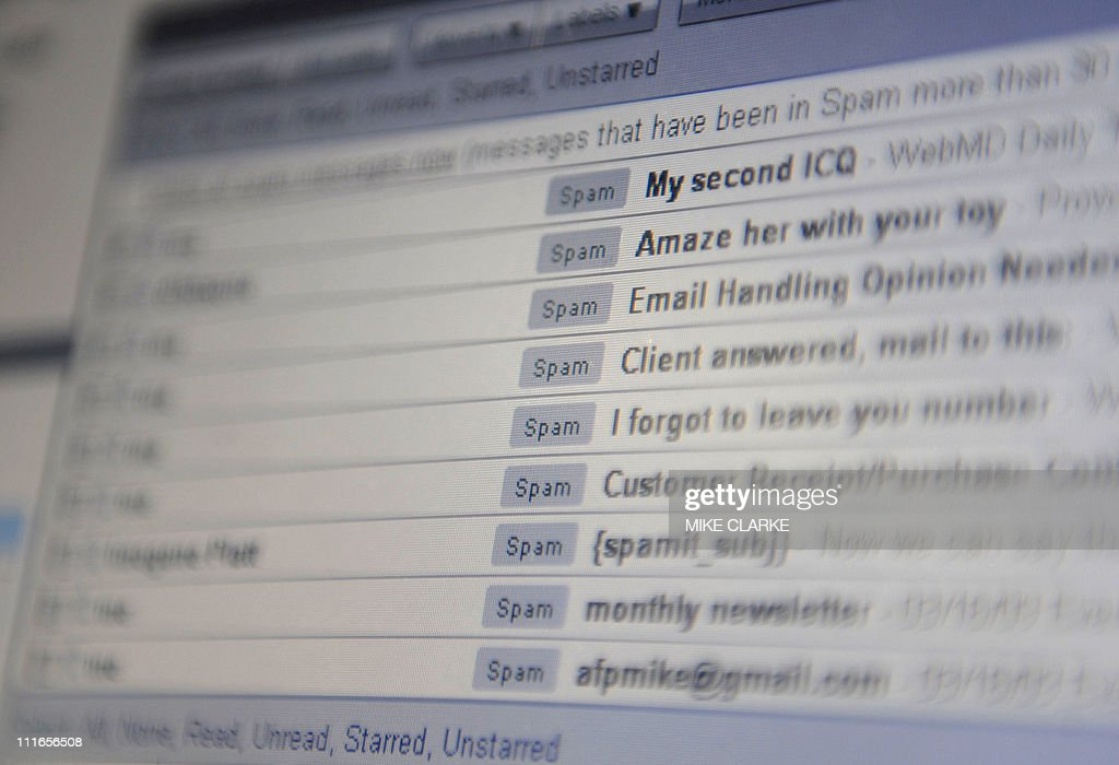 A computer screen inbox displaying unsolicited emails known as 'spam' in Hong Kong on March 20, 2009. The territory is under siege from legions of zombies attacking people with spam and leaving in their wake a trail of destruction costing millions of dollars a year, analysts have warned.