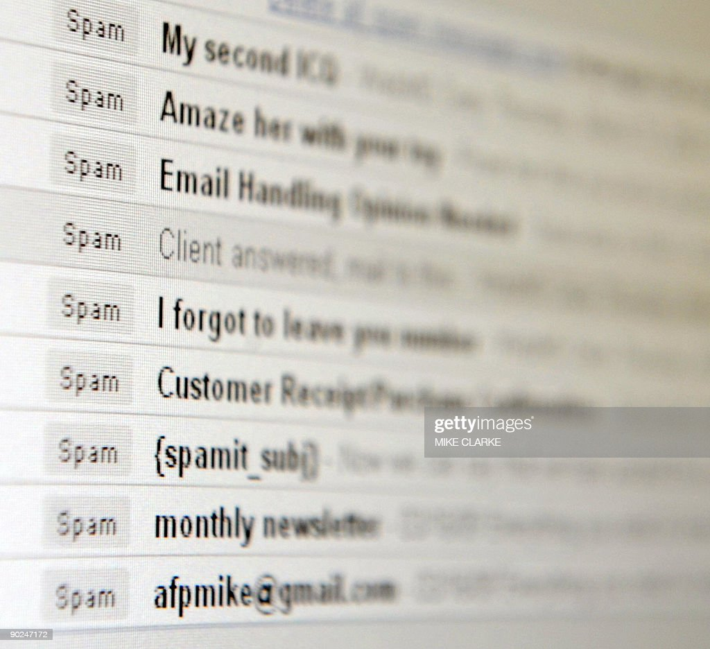 A computer screen inbox displaying unsolicited emails known as 'spam' in Hong Kong on March 20 2009 The territory is under siege from legions of...