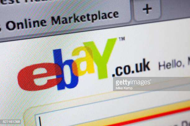 Computer screen showing the website for online shopping and auction site ebay
