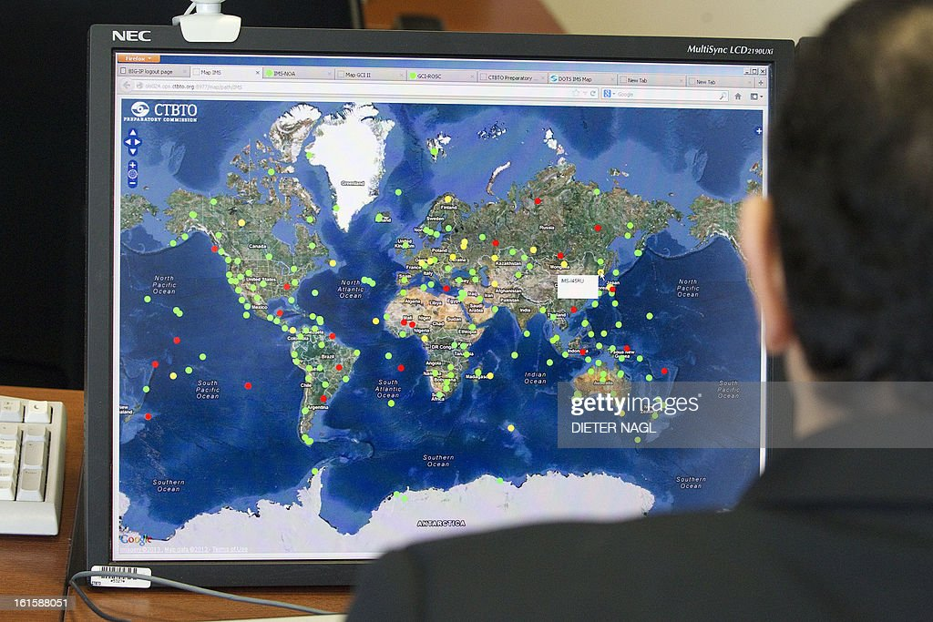 A computer screen, showing the worldwide control stations is pictured at the control roomon February 12, 2013 at the CTBTO headquarters in Vienna. Iran hinted Tuesday that inspection of the Parchin military site by the International Atomic Energy Agency would be possible in the context of a 'comprehensive agreement' that recongnises its right to peaceful nuclear energy.