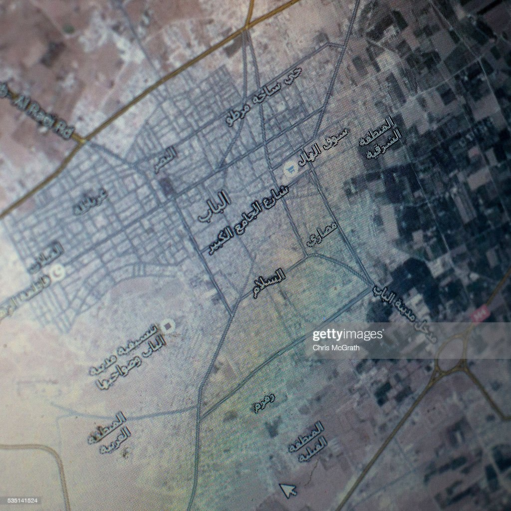 A computer screen shows a map of the area where 23 yearold Syrian Khalifa was held by ISIL in 2014 on May 12 2016 in Gaziantep Turkey Khalifa who...