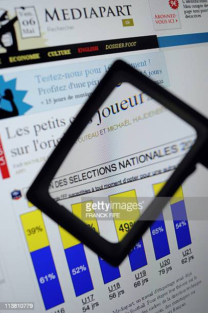 A computer screen shows on May 6 2011 in Paris a website page of French online newspaper Mediapart showing a French Football Federation graphic chart...