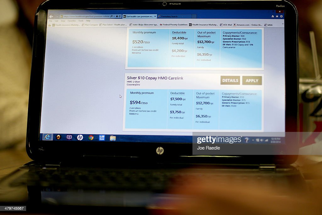A computer screen shows some of the price plans for health insurance under the Affordable Care Act on March 20, 2014 in Miami, Florida. The owner of Sunshine Life and Health Advisors, Odalys Arevalo, said she has seen a surge in people, some waiting up to 3 hours or more in line, trying to sign up for the Affordable Care Act before the open enrollment period for individual insurance ends on March 31.