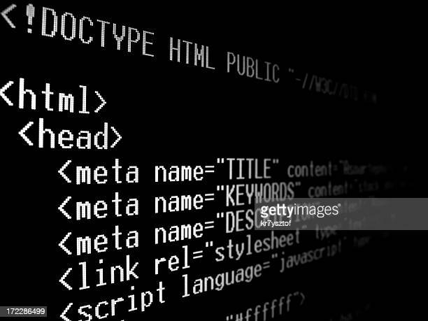 A computer screen with html tags