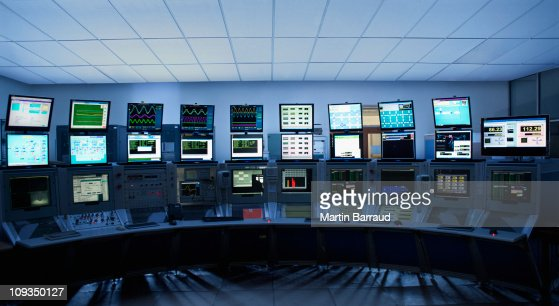 Computer screens in control room : Stock Photo