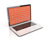 Computer security, firewall 3d concept, brick wall protecting laptop
