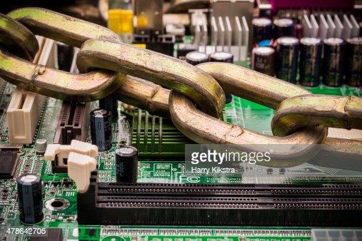 Computer security, loss of memory, anti-virus lock : Stock Photo