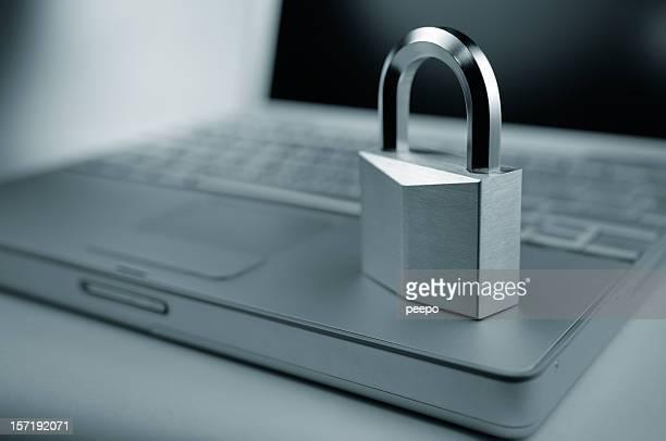 Computer Security - Padlock on Laptop