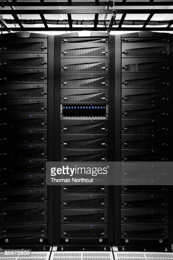 Computer server inside of server room. : Stock Photo