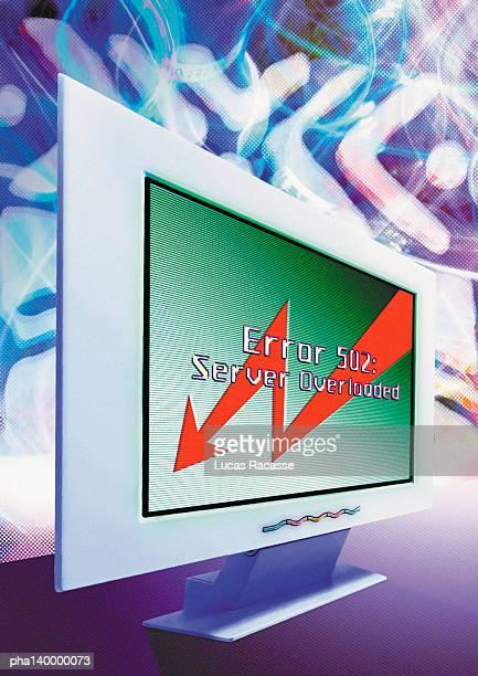 Computer, Server Overload message on screen, digital composite.