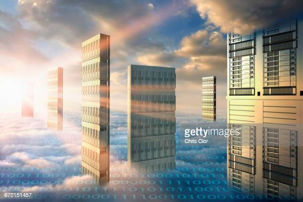 Computer servers in clouds with binary code