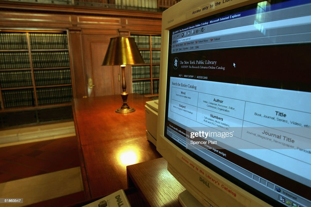 A computer sits in one of the reading rooms at the New York Public Library December 15, 2004 in New York City. Google, the internet search engine, has announced a long-term project to put 15 million books from seven of the world's most prestigious libraries online. Included will be the libraries of Harvard, Stanford, the University of Michigan, the New York Public Library and the University of Oxford, including the Bodleian. Books and periodicals from these libraries will be scanned and made available for search using Google. The project is expected to take six years at a cost of more than $100m.