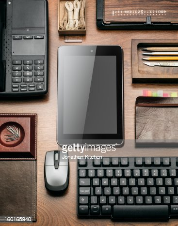 Computer tablet on a desk in a angular layout