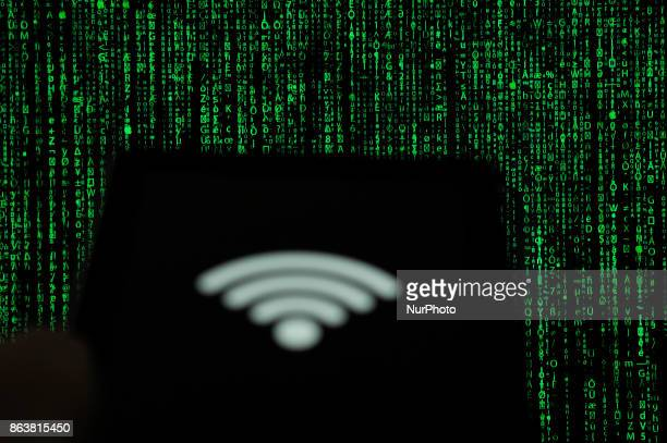 A computer tablet with a WiFi symbol is seen in this photo illustration on October 20 2017
