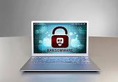 Ransomware at a computer screen laptop