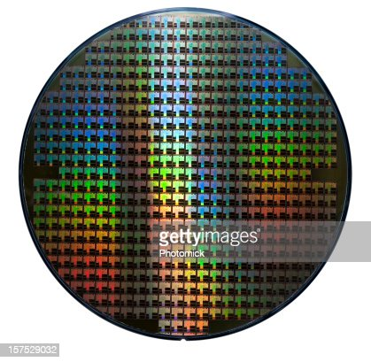 Computer wafer showing rainbow color patterns