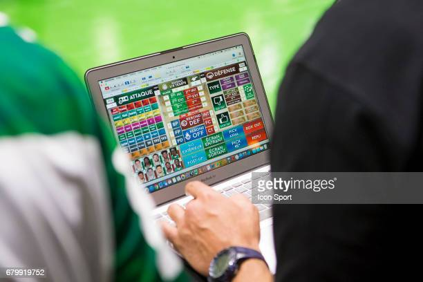 computer with statistic during the Pro A match between Nanterre and Limoges on May 6 2017 in Nanterre France