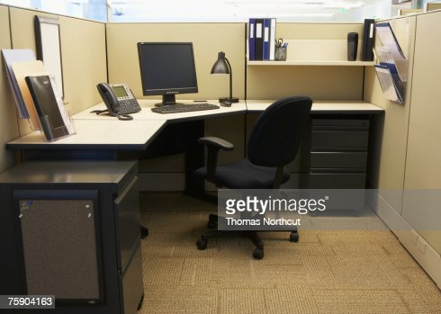 Computer with telephone in office : Stock Photo