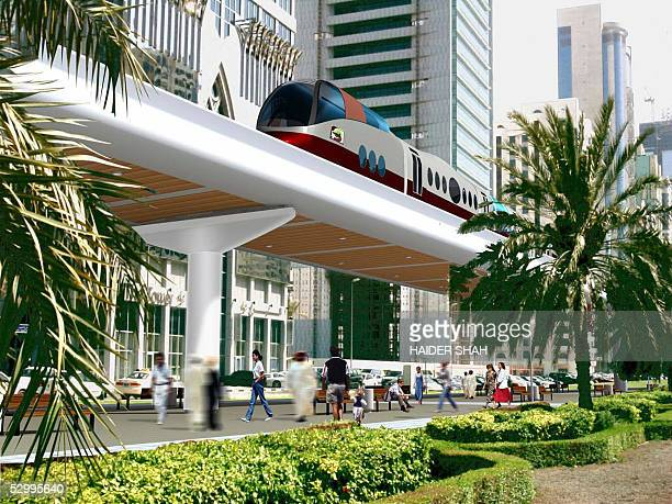 A computergenerated graphic showing an artist's impression of the Dubai hightech rail system is presented 29 May 2005 after Dubai goverment awarded...