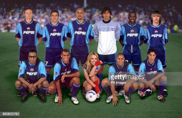 Computergenerated image of Britney Spears with the Pepsi AllStar lineup for Asia 2002 Back Row LR Emmanuel Petit Raul Gonzalez Juan Veron Gianluigi...