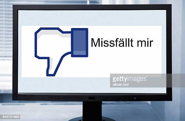 Computermonitor mit FacebookDaumen und Missfällt mirSchriftzug Datenschutz auf Facebook
